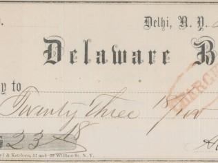 1865 Delaware Bank Check