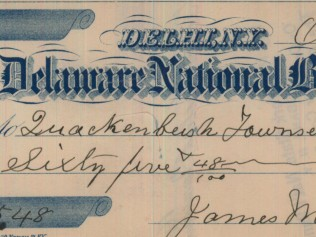 1885 Check from Delaware National Bank of Delhi