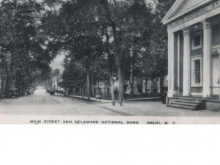 Black and White Photo of Delaware National Bank of Dlehi and Main Street