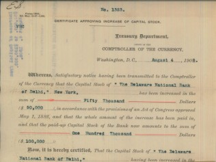 1908 Capital Stock Increase Document for The Delaware National Bank of Delhi