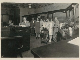 Employees Inside Delaware National Bank of Delhi - 1920