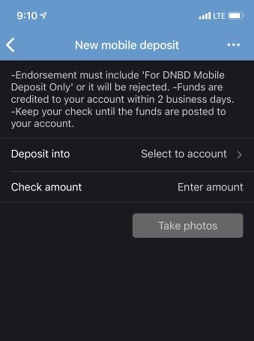 Mobile Deposit Screenshot