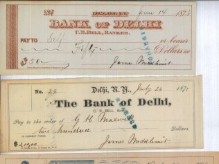 Bank Checks from 1873 and 1886